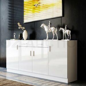 Modern Sideboard Buffet Storage Cabinet High Gloss Front 4 Doors Cupboard White