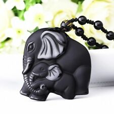 Chinese Natural Obsidian Hand-Carved Lucky Elephant Black Jade Necklace Pendant