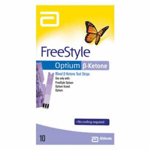 Abbott FreeStyle Optium Blood Ketone Test Strips 10 Pack  UNBOXED EXP:2021 MVC^