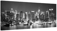 New York City Harbour at Night Panorama Canvas Wall Art Black and White Print