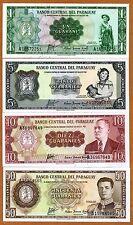 SET Paraguay, 1;5;10;50 Guaranies L. 1952, P-193-195-196-197, A-Serie, UNC