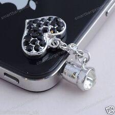 5pcs 3.5mm Anti Dust Black Crystal Heart Dangle Headphone Plug For iPhone 4/5/6