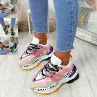 WOMENS LADIES LACE UP CHUNKY TRAINERS MULTICOLOR SNEAKERS ANIMAL PRINT SHOES