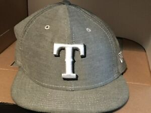New Era 59Fifty Texas Rangers Fitted Game Hat Grey/White 7 1/2
