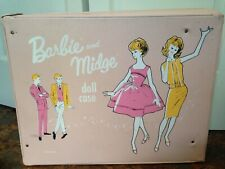 Vintage Barbie & Midge Doll Clothing accessories Box Carry carrying Case pink 60