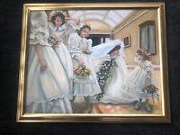 Marie Weiss Allentown Artist Painting Signed Framed Bride Wedding & Flower Girls