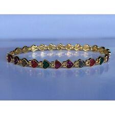 Gold Tone Magnetic Anklet Women Men Anklet Sparkly Multi Color Glass Hearts