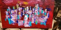 Abstract City Painting Original Painting Cityscape Painting Stretched Canvas