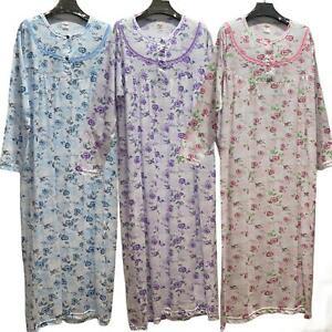 Nightdress Nightie Women's 100% Cotton Ladies Long Sleeve Button Floral Pattern