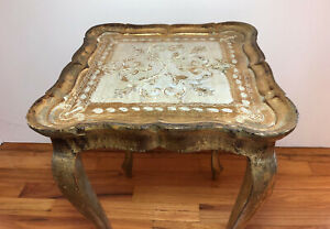 VTG FOMERZ Italian Florentine Gold Gilt Wooden End Side Accent Table Unmarked