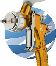 DeVilbiss GTI PRO Gravity Spray Gun HV30 Aircap 1.2 and 1.3mm Nozzles - Gold