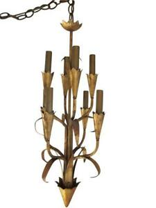 Small Gilded Tole Chandelier