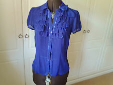 Pretty sheer purple blouse with frilled front from Debenhams - size 12