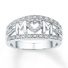 Best Family Silver MOM NANA Letter Love Jewelry Rings Crystal Mother's Day Gift