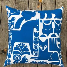 "Marimekko 20"" Kanteleen Kutsu cotton pillow case cushion cover Finland blue"