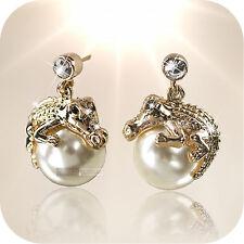 18k rose gold gf made with swarovski crystal earrings crocodile pearl stud