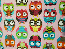 OWLS HOOT MULTI COLORED OWL PINK COTTON FLANNEL FABRIC FQ