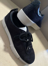 New $675 Giorgio Armani Mens Suede Sneakers Shoes Black 11 US/10 UK X1X083