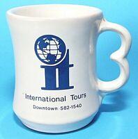 Frankoma Pottery Cup Mug White Sand C9 International Tours Blue Logo Vintage EUC