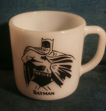 (c)NPP 1966 BATMAN WHITE MILK GLASS COFFEE MUG CUP HEAT PROOF Westfeild Clean!