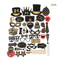 21st/30/40/50/60th 36PCS Happy Birthday Party Photo Booth Props On Stick Selfie