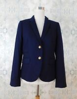 J Crew Blue Classic Schoolboy Career Casual Blazer Jacket in Navy 6 Medium