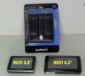 """NEW Genuine Garmin Black Leather Carrying Case for NUVI GPS 3.5"""" & 4.3"""" Display"""