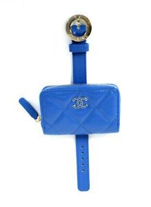 CHANEL 20S NIB Cobalt Blue Quilted Shiny Leather Wristlet Bracelet Bag