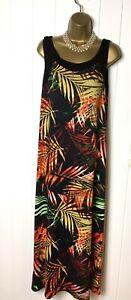WALLIS Black Orange Leaf Maxi Long Dress Stretch A line Summer Holidays Size 16