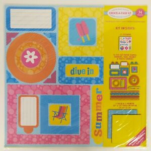 Scrapbook Create A Page Kit 12x12 Paper Summer Seasonal Theme Bright Colors