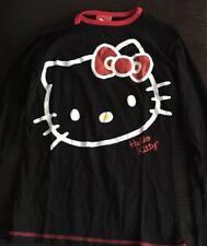 Women's Juniors Small Hello Kitty Long-Sleeve Pajama Top Sleep Shirt Black