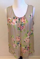 BOBBIE BROOKS Beige & Pink Floral Sheer Tank Top Sleeveless Shirt! Size Medium M