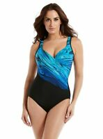 Miraclesuit Womens It's a Wrap Surplice Underwire Blue One Piece Swimsuit Sz 10