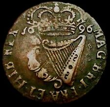 T006: 1696 Irish William III Copper Halfpenny - Rare BRI legend, Spink 6589A