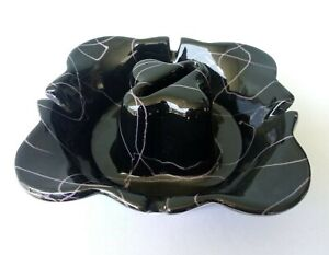 HULL POTTERY - MID CENTURY MODERN BLACK & PURPLE DRIZZLE GLAZE ASHTRAY