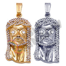 Men Stainless Steel Pendant Jesus Head Face Gold Silver CZ Bling Hiphop P12