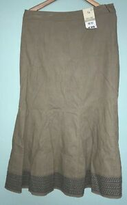 New Cherokee Brand Womens Brown Fit and Flare Embroided Hem Skirt, Size 14