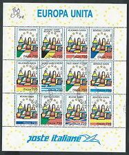 1995 ITALIA USATO FOGLIETTO EUROPA UNITA BENVENUTA EUROPA