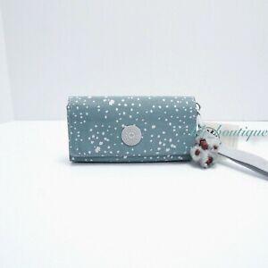 NWT New Kipling KI0308 RUBI Snap Long Wallet Wristlet Polyamide Silver Sky Blue