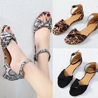 Womens Flats Sandals Summer Leopard Peep Toe Flip Flops Ankle Strap Party Shoes