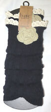 Born Concept Black with Cute White Flower Legwarmer One Size NEW