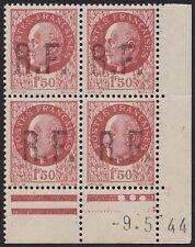 FRANCE Libération Badonviller N°6** bloc de 4 coin daté 1944 signé MAYER C:420€