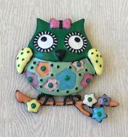 Owl on a tree Branch Brooch Pin in enamel on metal