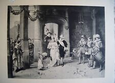 Antique Lithograph THE COUNTESS FETE DAY Festive wear Charity Event B&W