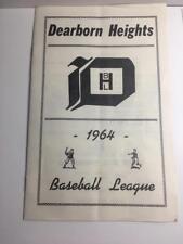 Vintage 1964 Dearborn Hights Baseball League Program / Schedule Michigan RARE