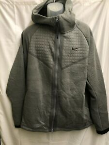 NIKE TECH FULL ZIP UP JACKET QUILTED SWOOSH GREY BLACK XL supreme white off b12