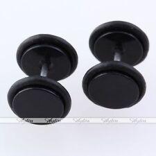 Black Disc Barbell Fake Cheater Illusion Plug Ear Stud Screw Back Earring Unisex