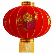 Chinese Round Big Red Lantern Flocking Cloth Spring Festival Decoration New Year