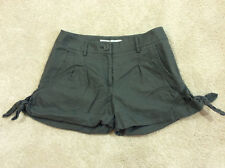 Lauren Conrad Olive Green Linen/Cotton Cuffed Shorts Side Ties Size 2