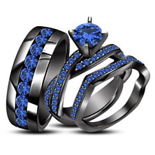 2.75 CT RD Blue Sapphire Black Gold Finish 925 Silver His & Her Trio Ring Set $$